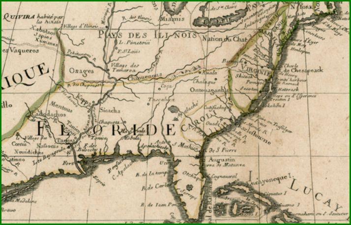 Shawnee tribe access genealogy de lisle map detail 1700 sciox Images