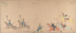 Ledger Drawing - Cheyenne warriors fighting Mexican Lancers