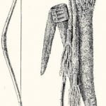 Fig. 1. Sinew-backed Bow and Quiver from the Blackfoot and a Compound Bow of Mountain Sheep Horn from the Nez Percé.