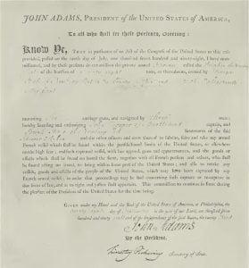 John Hooper's Commission as Captain of the Privateer Schooner Dolphin