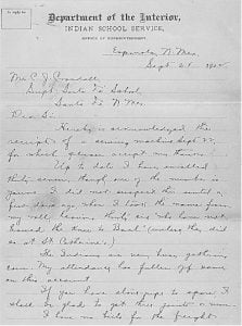 Department of Interior Letter to the Albuquerque Indian School