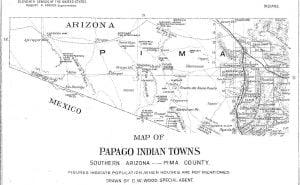 Map of Papago Indian Towns