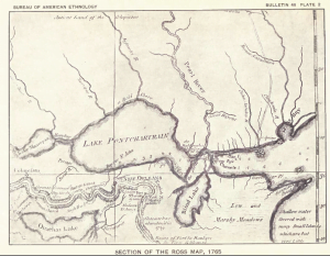 Lake Ponchatrain Section of the 1765 Ross Map