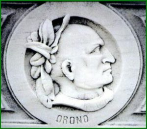 Carved portrait of Chief Orono