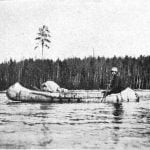 Ojibway birch bark canoe. Northern Minnesota, 1899.