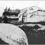 Two types of wigwams covered with birch bark.