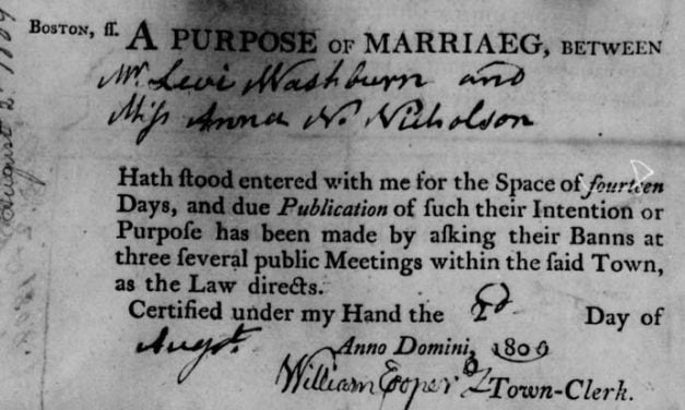 Boston Intentions of Marriage 1752-1808