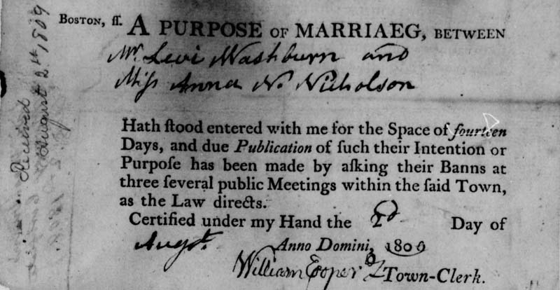 Boston MA Intentions of Marriage 1762