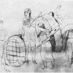 Hidatsa group with bull-boats. At Fort Berthold, July 13, 1851 - From Kurz's Sketchbook
