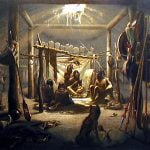 """The interior of the hut of a Mandan chief"" - Karl Bodmer, 1833"