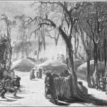 "Finished picture of the same, ""Winter Village of the Minatarres"" - Karl Bodmer, 1833"