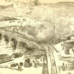 The wrecked houses burning at the Pennsylvania Railroad Bridge