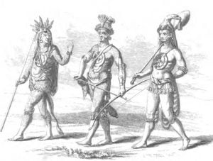 Chiefs with their Ornaments and War Implements, upon their march against the Enemy
