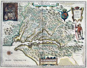 Blaeu 1630 Map Of The New Colony Of Virginia Access Genealogy