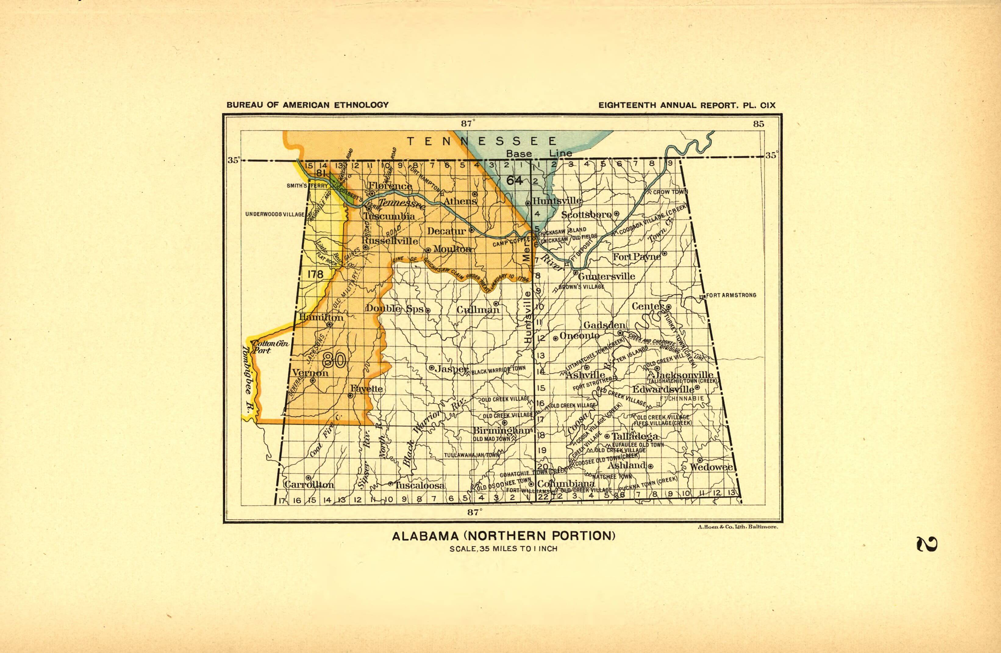 Northern Alabama Land Cessions Map Access Genealogy - Map of northern alabama