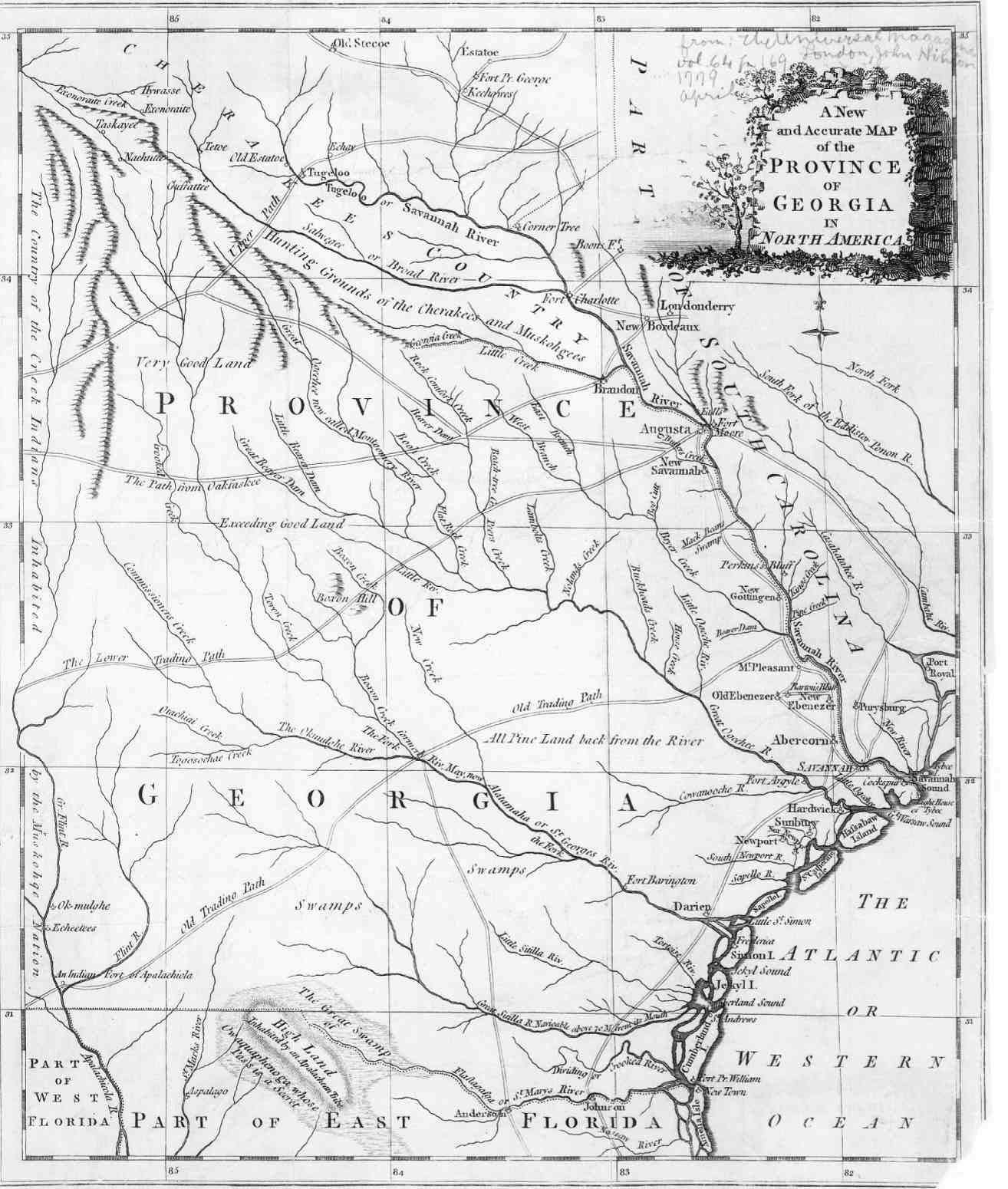 Ancient Southeastern Maps Access Genealogy - Rivers of georgia map