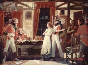 Laura Secord warning Lieutenant James Fitzgibbon