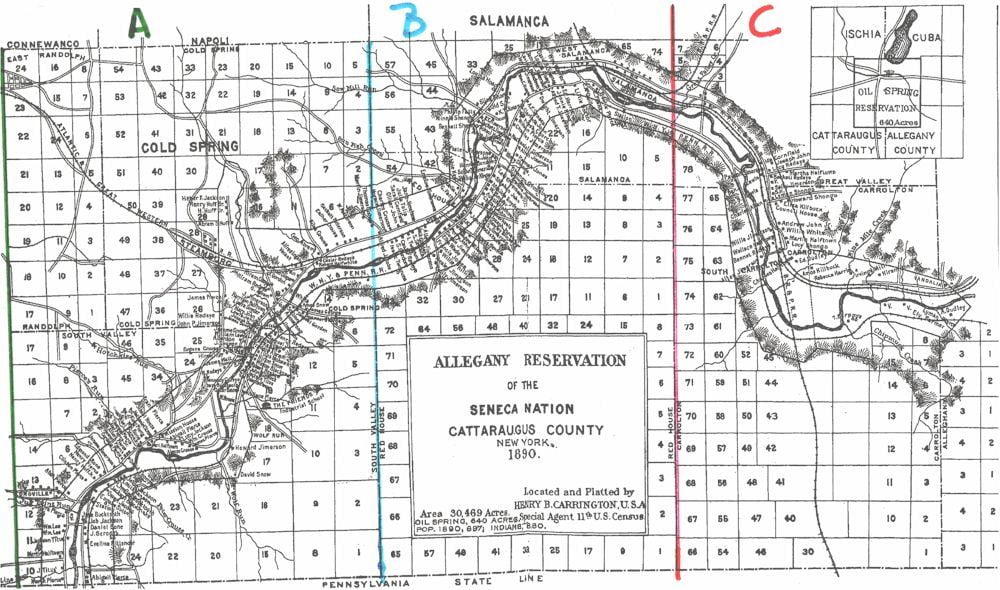 Allegany Reservation Map and Occupants, 1890