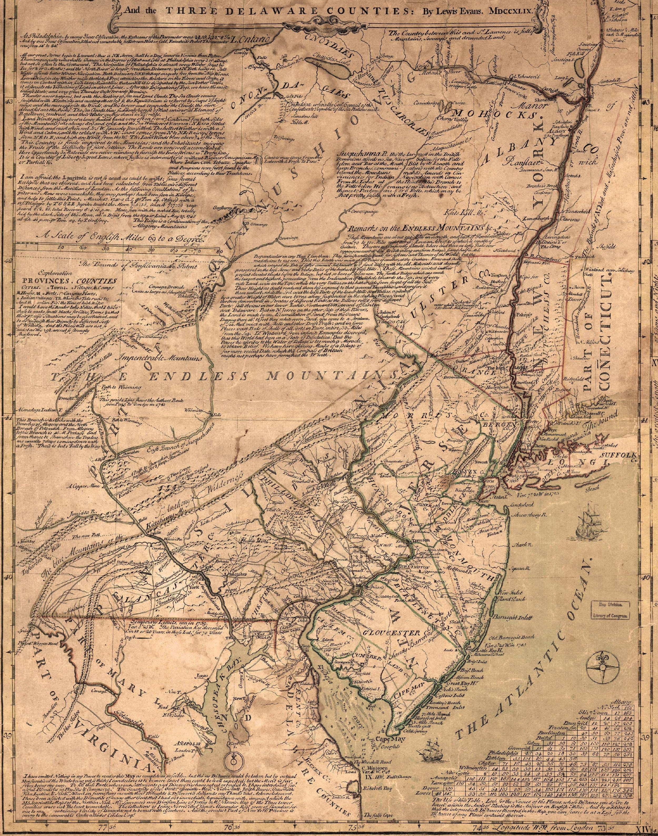 1749 Lewis Evans Map