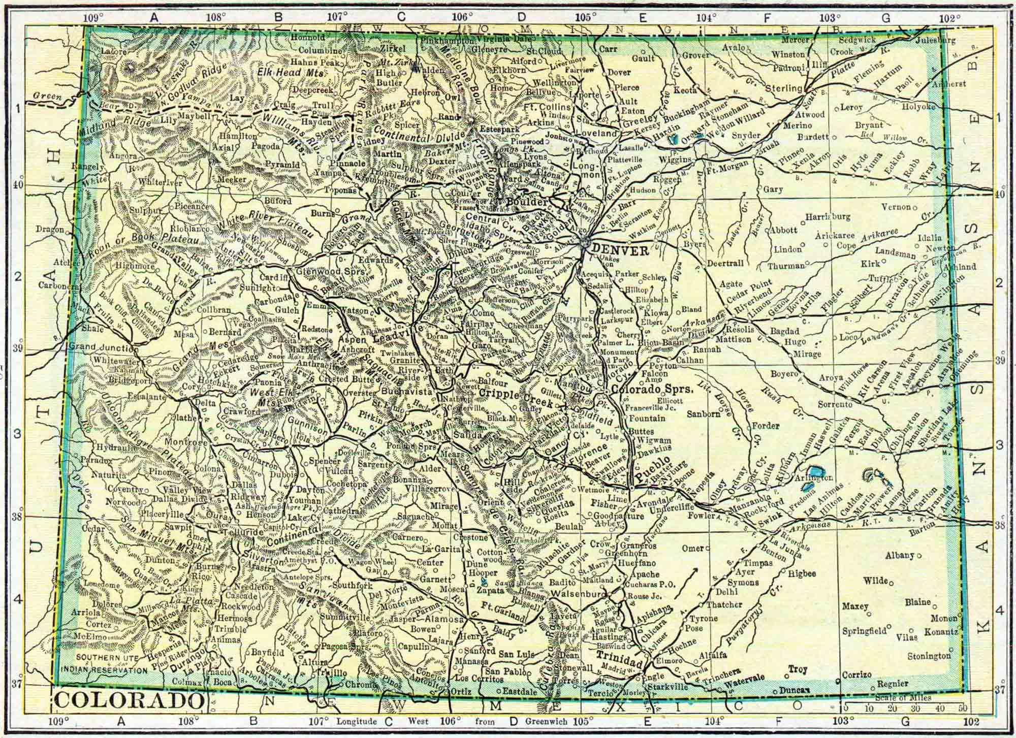 Colorado Census Map Access Genealogy - County maps of colorado