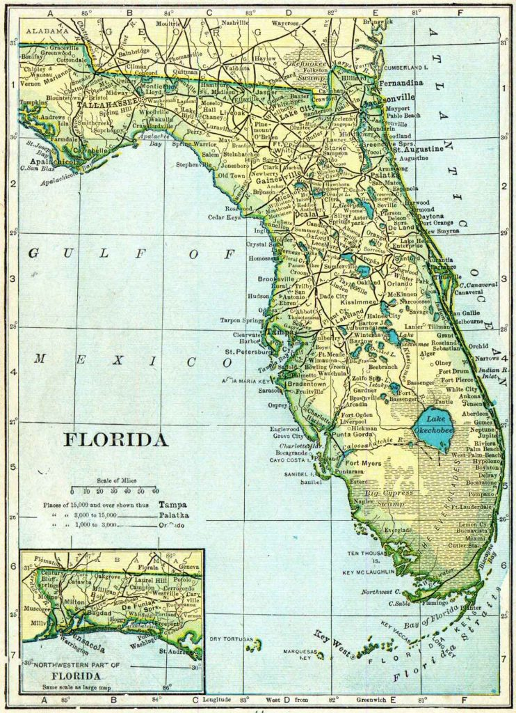 1910 Florida Census Map