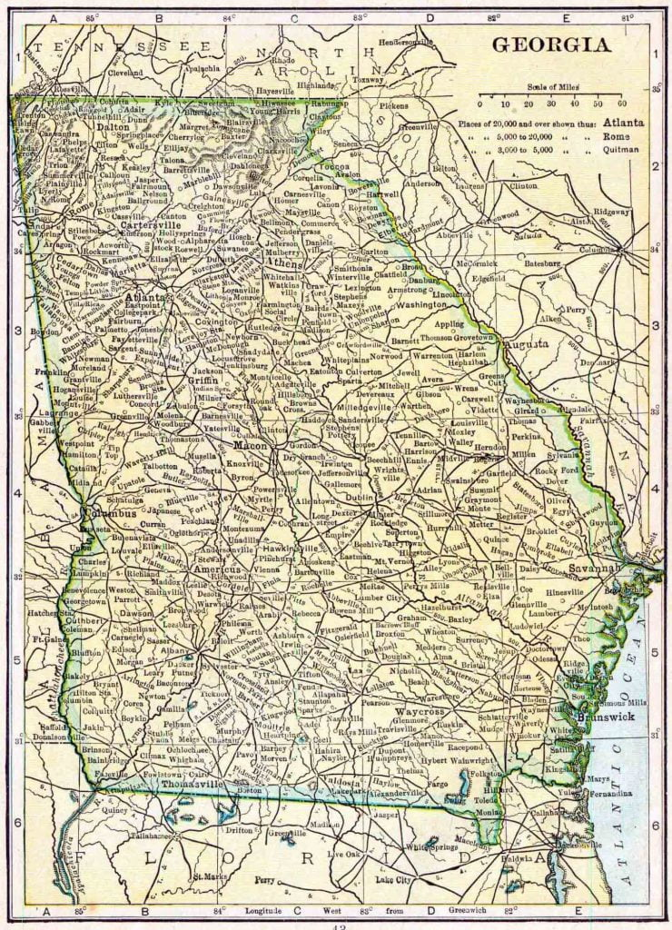 1910 Georgia Census Map