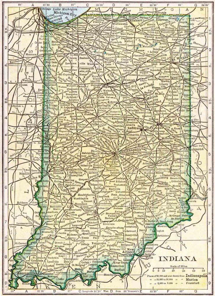 1910 Indiana Census Map