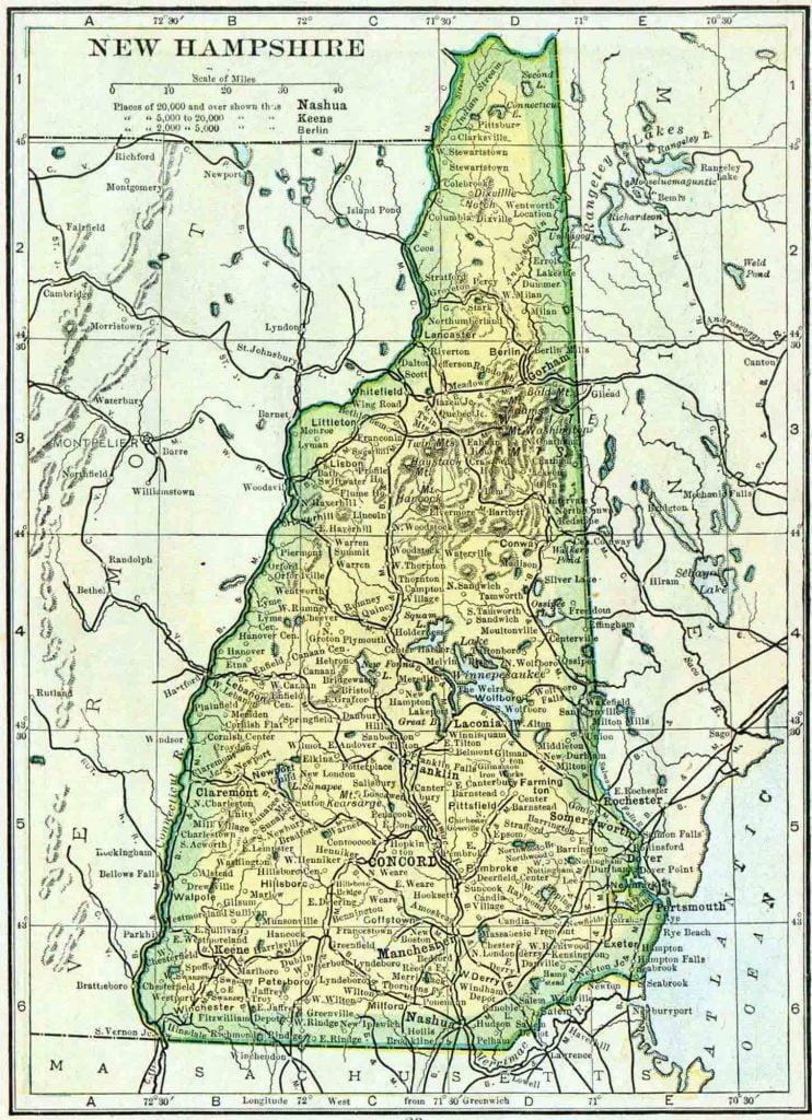 1910 New Hampshire Census Map