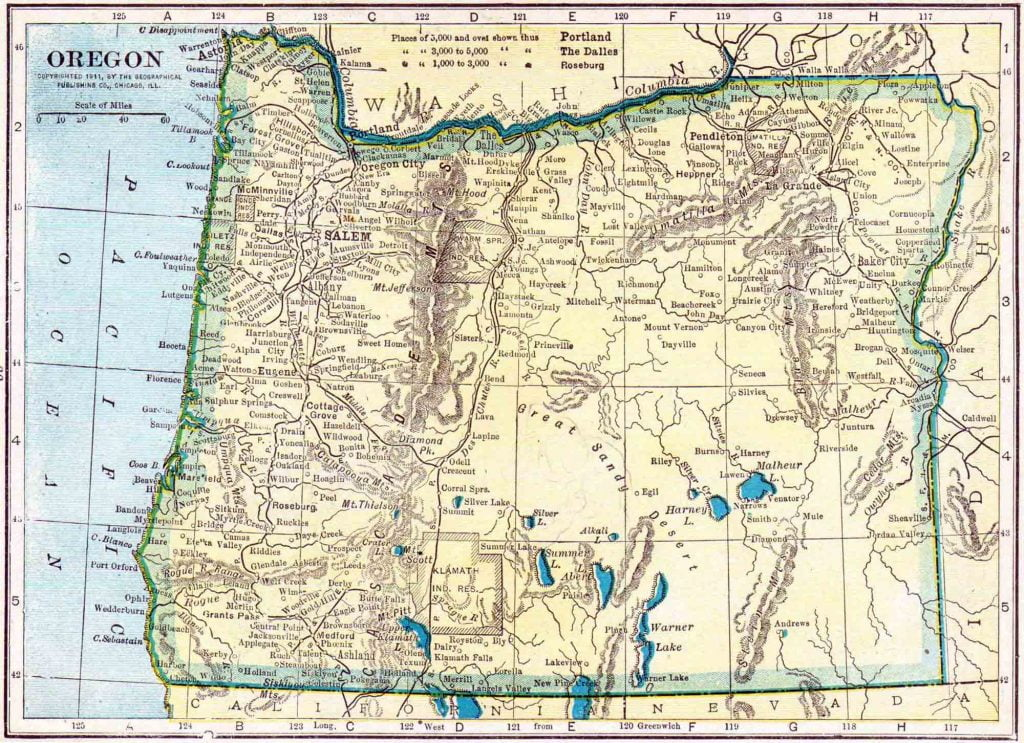 1910 Oregon Census Map
