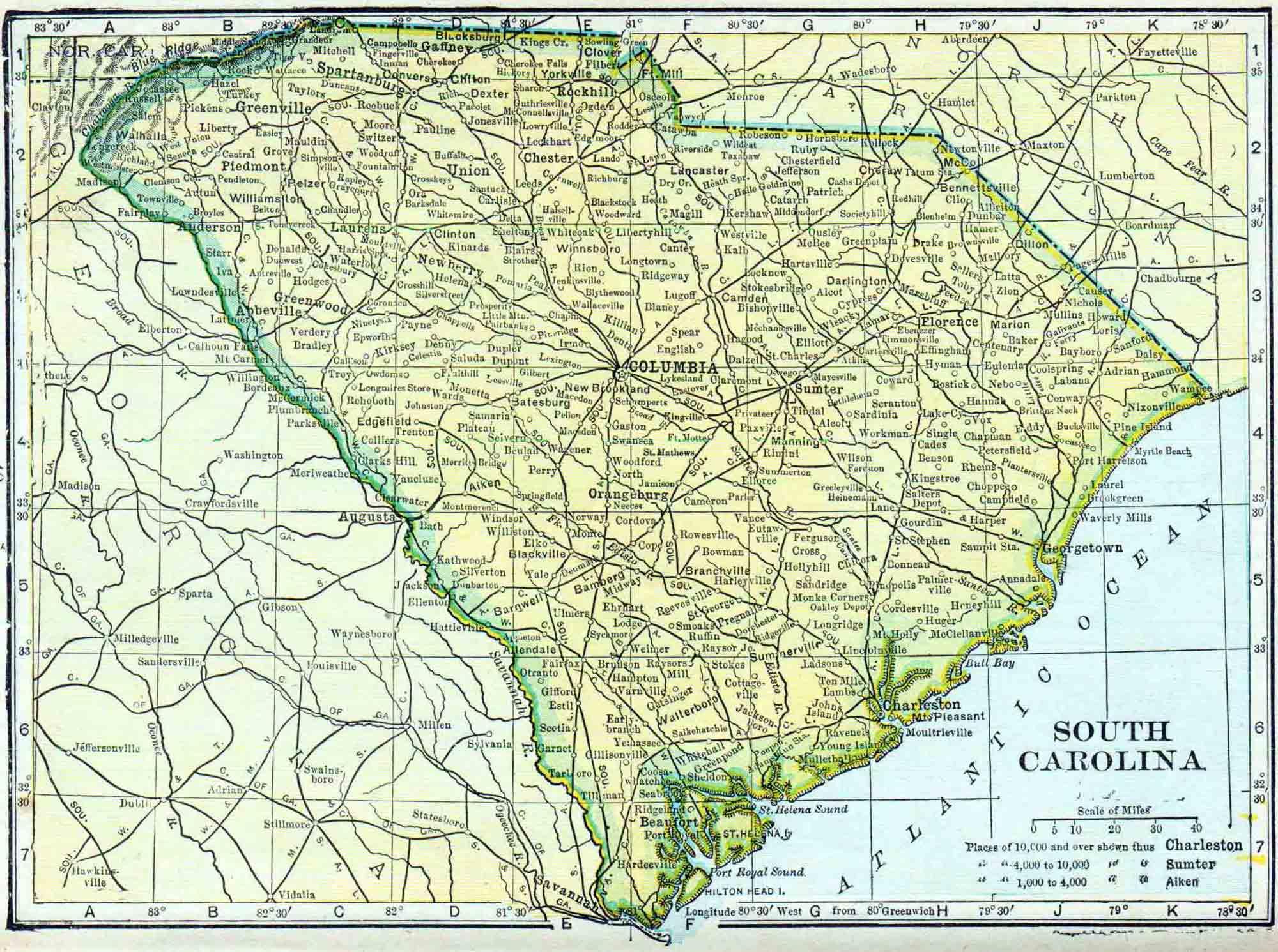 South Carolina Genealogy Access Genealogy - South carolina towns map
