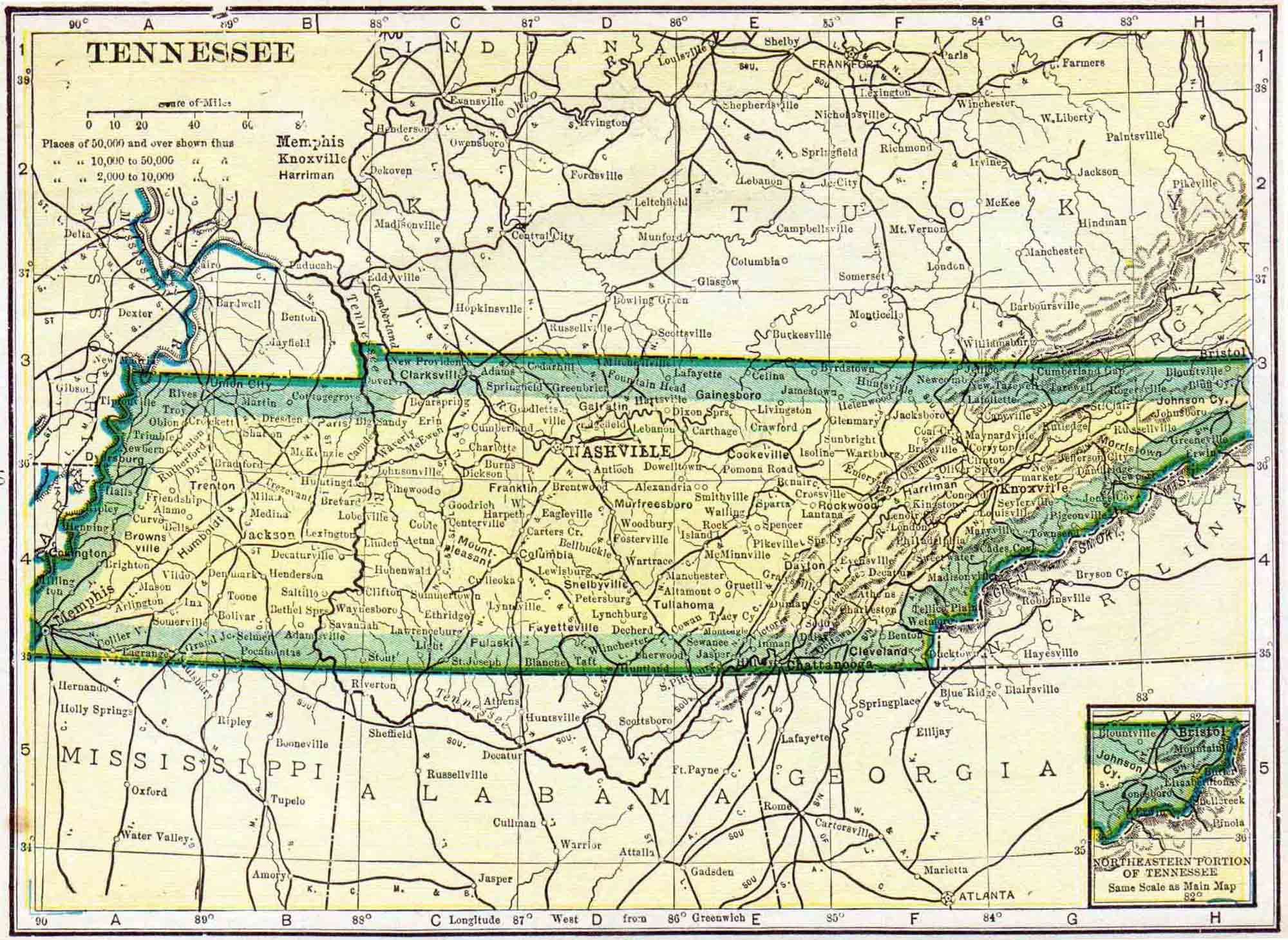 1910 Tennessee Census Map  Access Genealogy