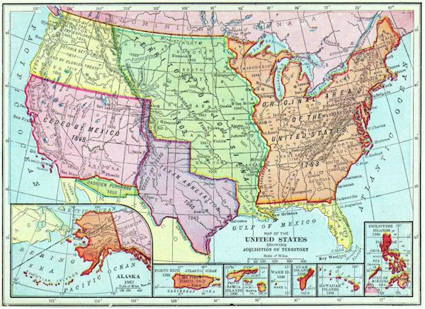 Map Of The Territories Of The United States By Acquisition - Us map of territories