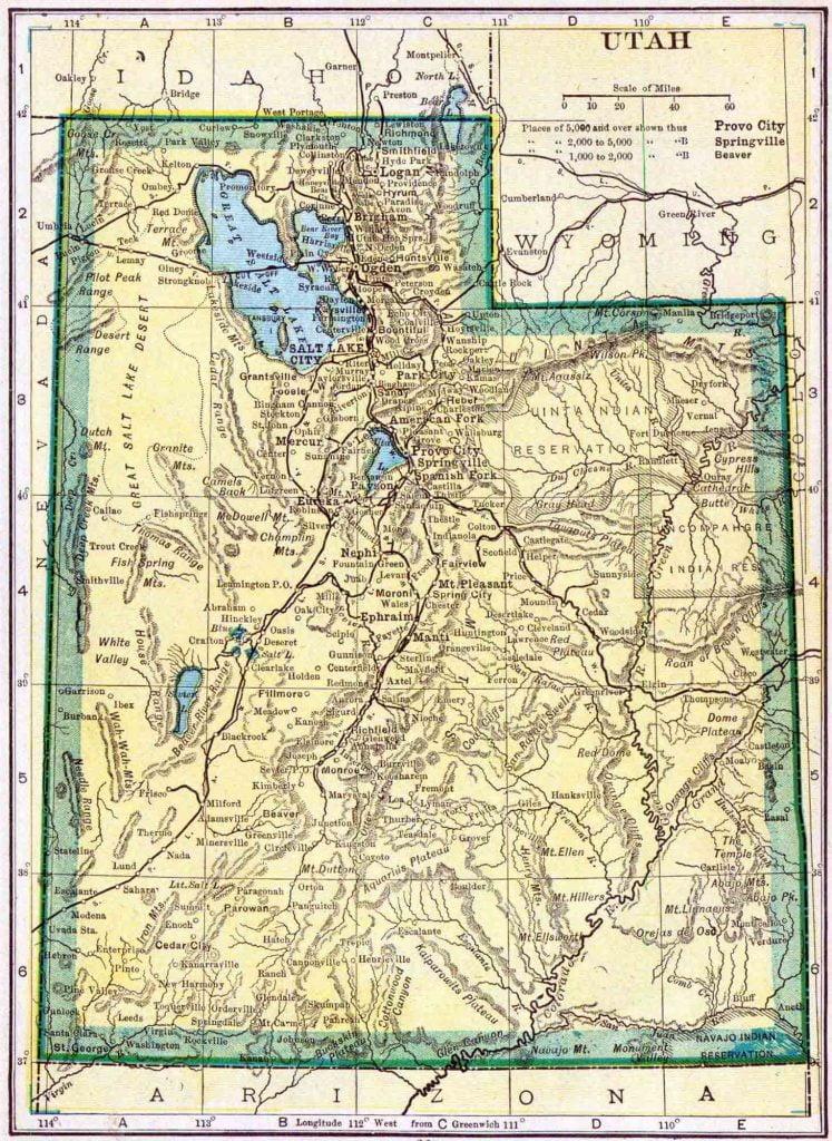 1910 Utah Census Map