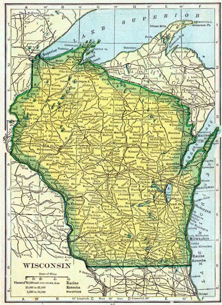 1910 Wisconsin Census Map