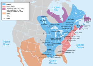 Map of North American Territories in 1750