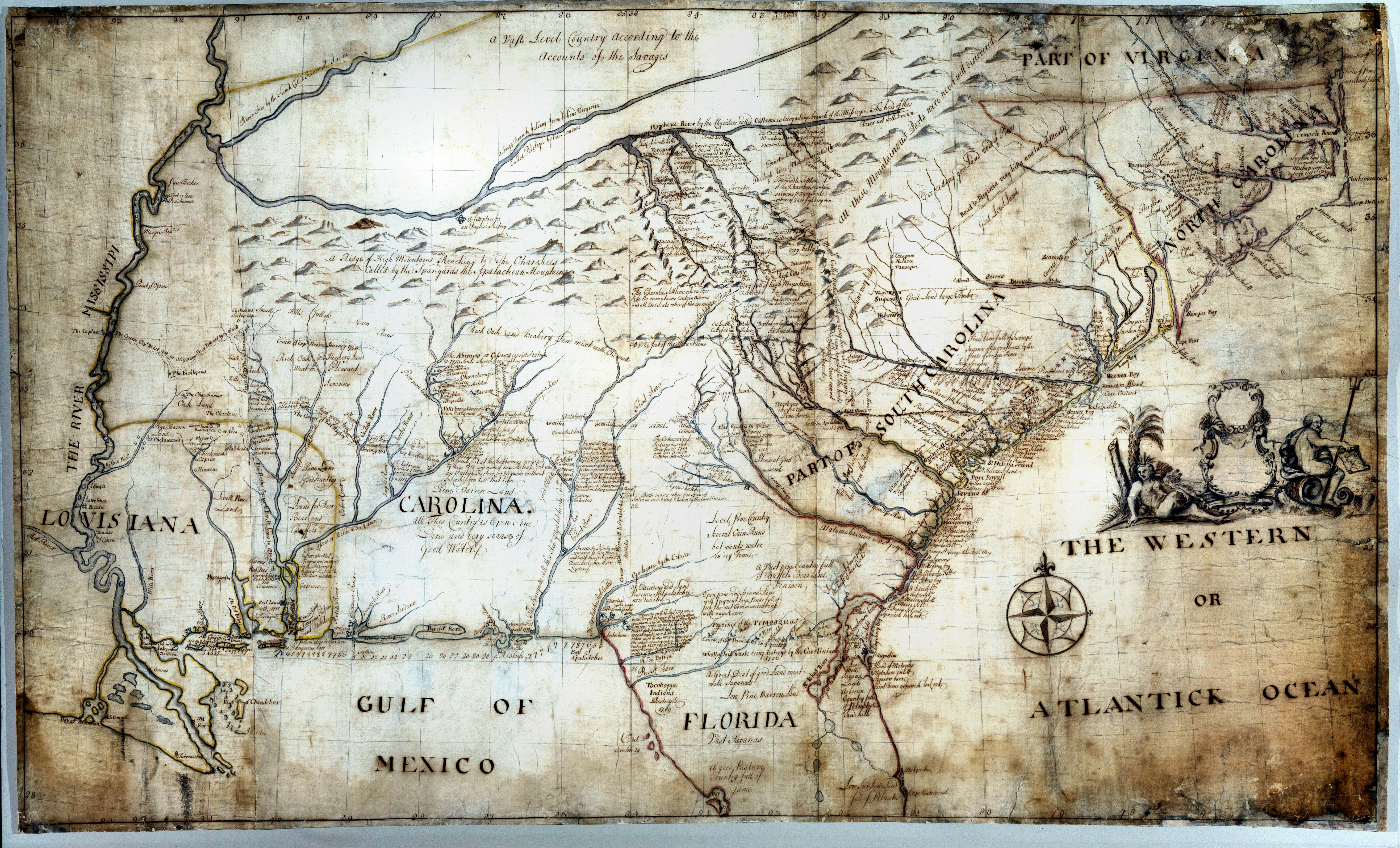1721 Barnwell Map of Southeast America