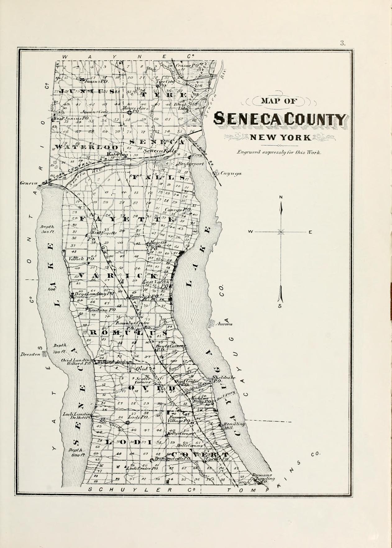 Seneca county new york genealogy access genealogy 1876 map of seneca county ny aiddatafo Gallery