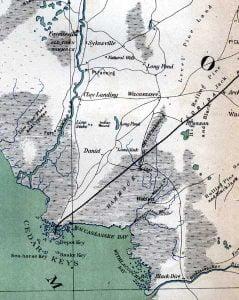 Map of Levy County in 1865Map of Levy County in 1865
