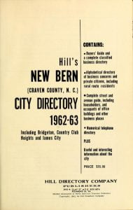Title Page of the New Bern City Directory 1962-63