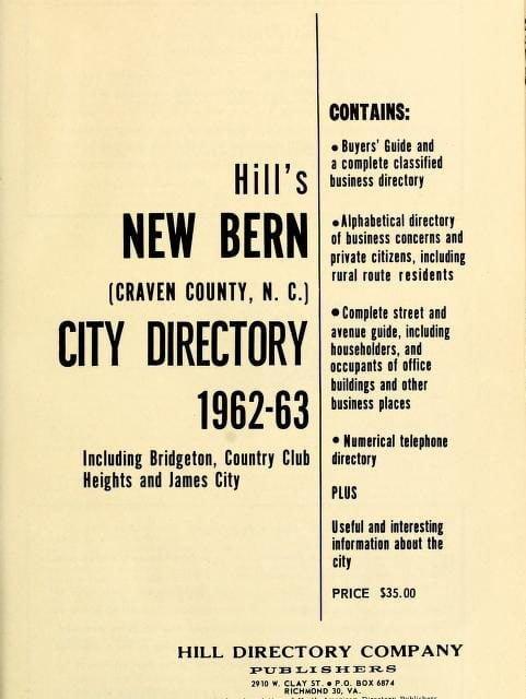 New Bern North Carolina City Directories
