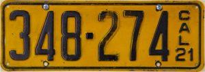 1921 California License Plate