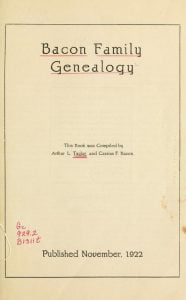 Title page to the Bacon Family Genealogy