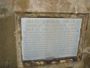Mary Draper Ingles Chimney Plaque