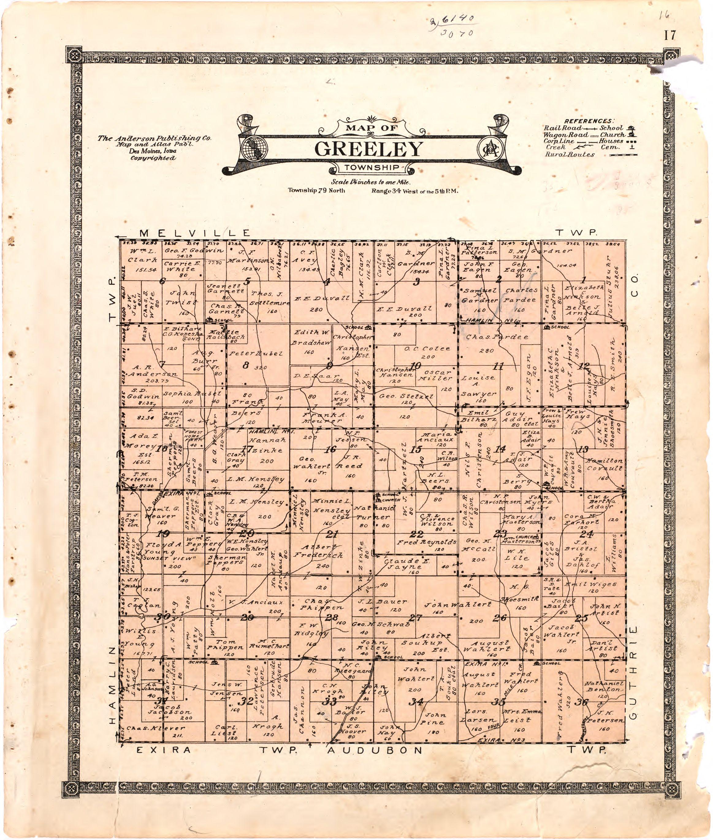 1921 Farm Map of Greeley Township, Audubon County, Iowa