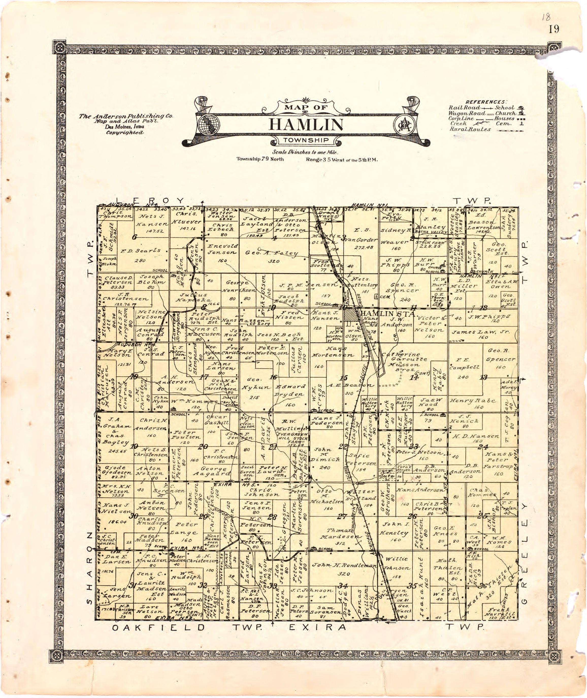 1921 Farm Map of Hamlin Township, Audubon County, Iowa