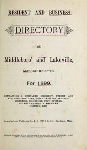 1899 Middleboro and Lakeville Massachusetts Directory Cover