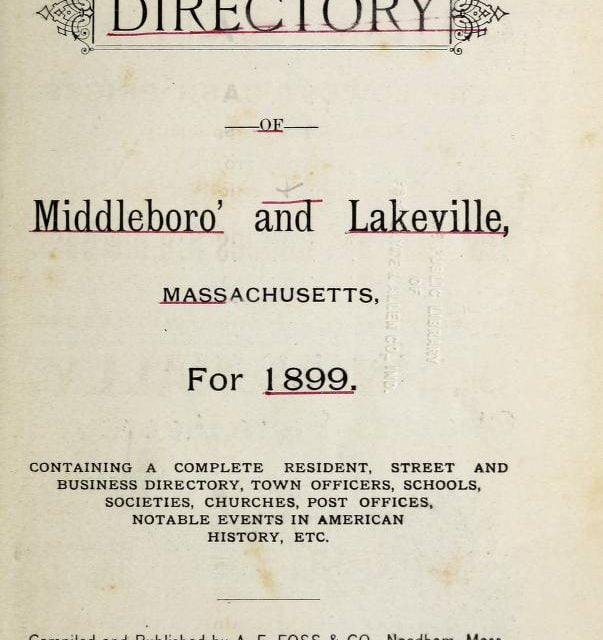1899 Directory for Middleboro and Lakeville Massachusetts