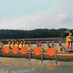 Vector image of a Chontal Maya warboat.