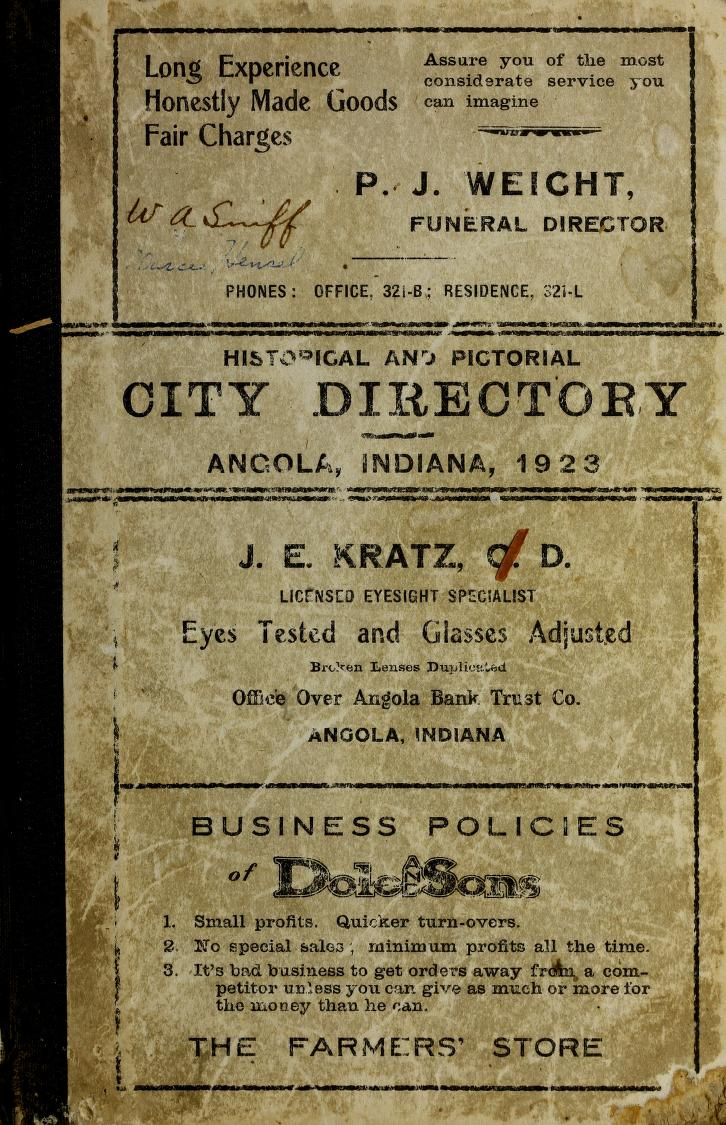 1923 Angola Indiana Directory Book Cover
