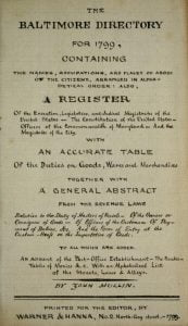 Baltimore Maryland Directory for 1799 title page